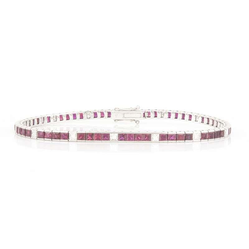 18k White Gold Princess Cut Ruby and Diamond Line Bracelet 6.80ct